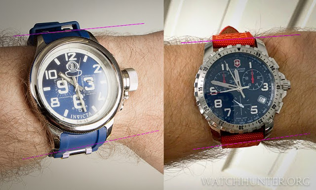 Lug-to-lug measurements that go beyond the width of the wrist makes a watch appear to overhang (left)