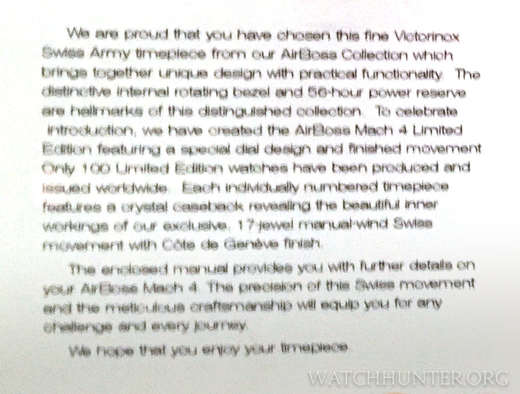 The included card told more information about the Limited Edition Airboss Mach 4 than customer service did