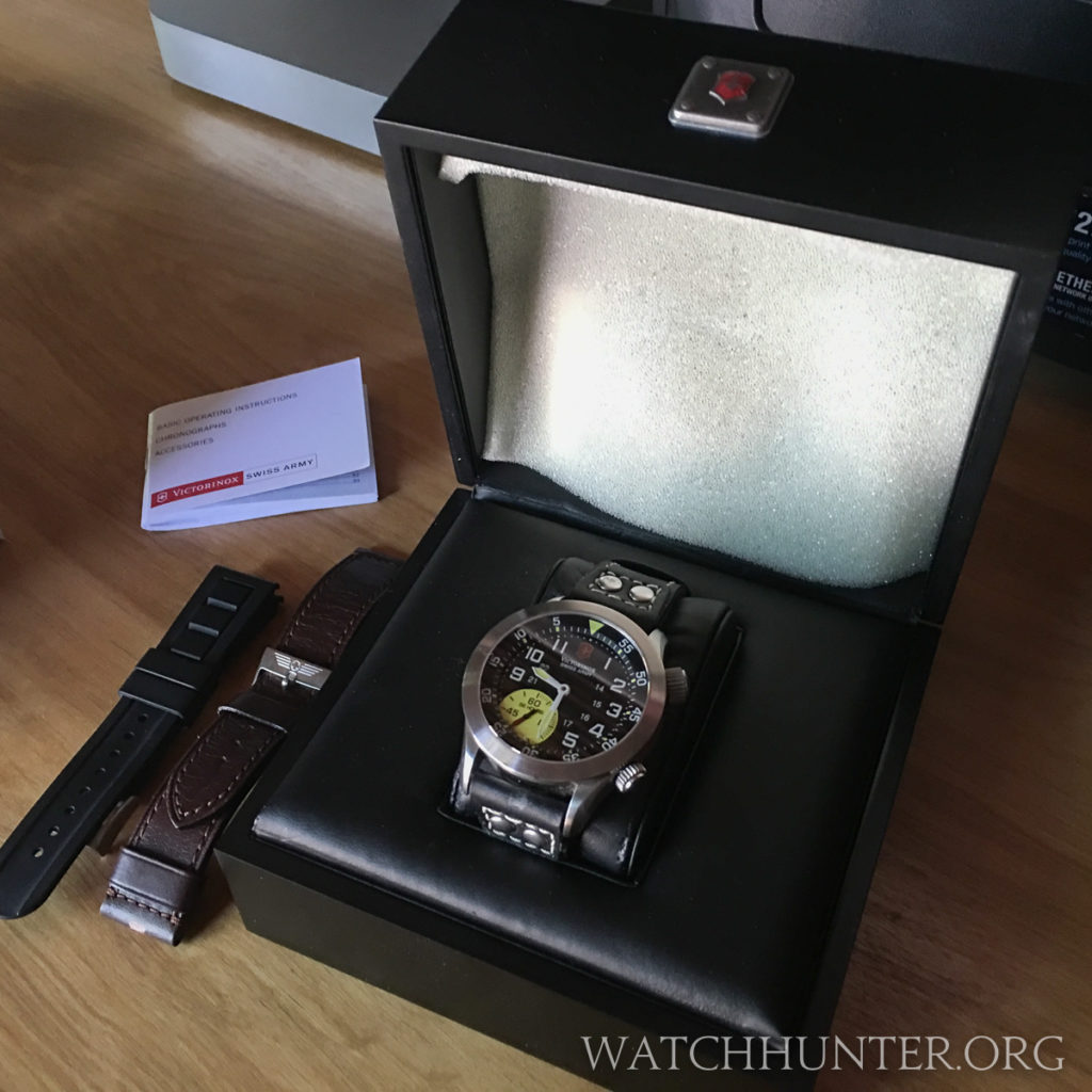 The special edition box for the Swiss Army Airboss Mach 4 Limited Edition. Only the brown watch band is original.