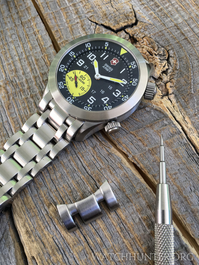 The stainless steel bracelet changes the look of the limited edition Mach 4 to more of a tool watch.