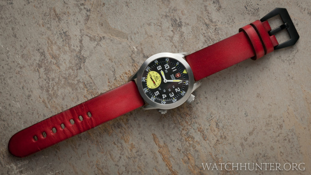 My customized Victorinox Swiss Army Airboss Mach 4 Limited Edition on a red Strapsco watchband