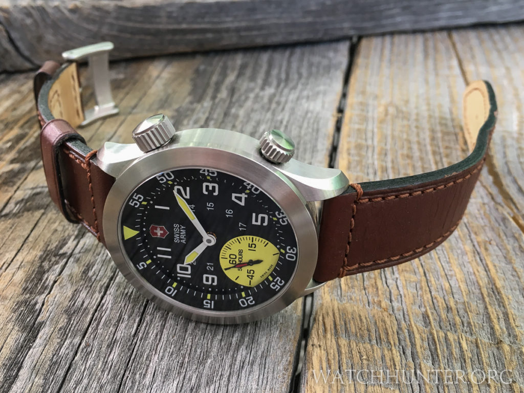 My Victorinox Swiss Army Airboss Mach 4 Limited Edition watch on the original brown leather watch band