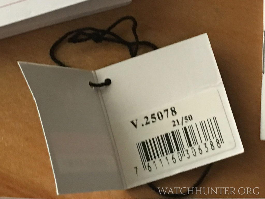 This card shows the model number of the watch V 25078, and its number in the series (21/50).