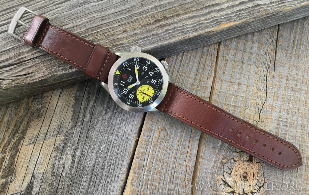 Here is what the Victorinox Swiss Army Airboss Mach 4 Limited Edition looks like on the original leather