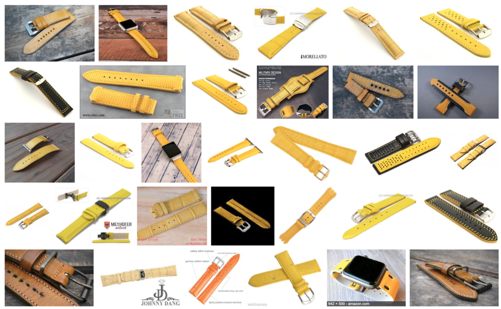 Yellow leather watch bands come in a variety of shades