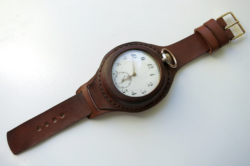 A wonderful pocket watch conversion into a wristwatch made by MK Leathers. Photo: http://mkleathers.pl