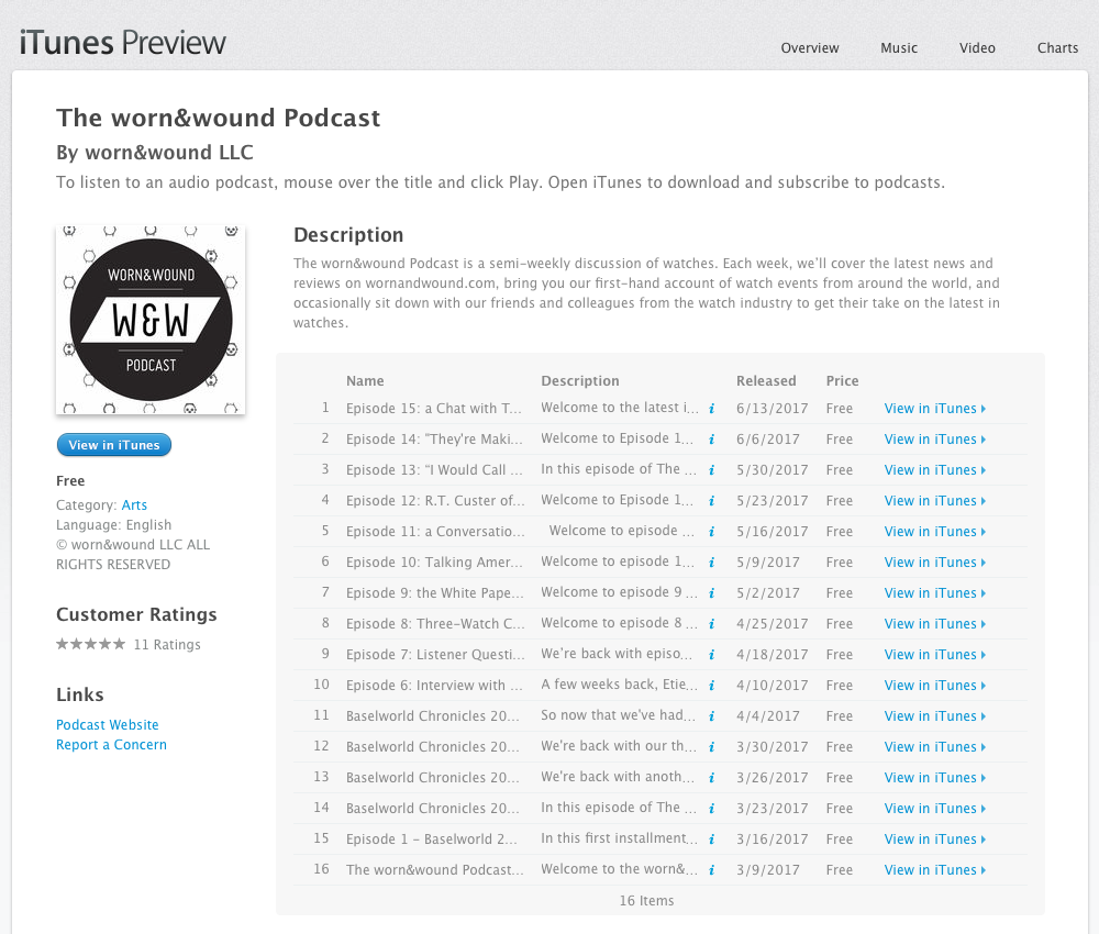 The growing list of podcasts available on Apple iTunes.