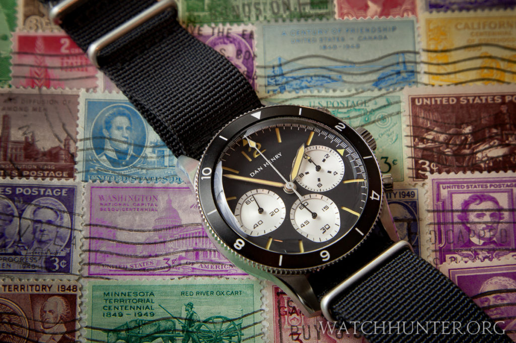 Dan Henry 1963 Chronograph on the included black NATO strap.