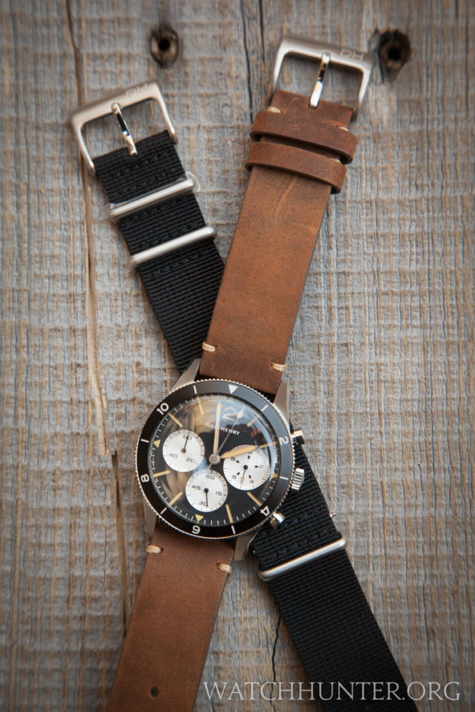 Each Dan Henry 1963 Chronograph comes with 2 straps.