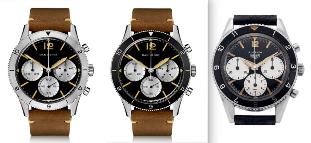 Both models of the Dan Henry 1963 Chronograph compared to a first gen. Heuer Autavia.