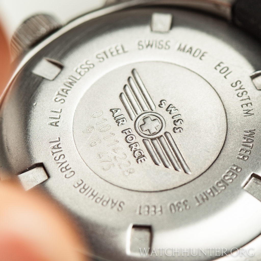 The serial number shown here is from a Victorinox Swiss Army watch from 2001.