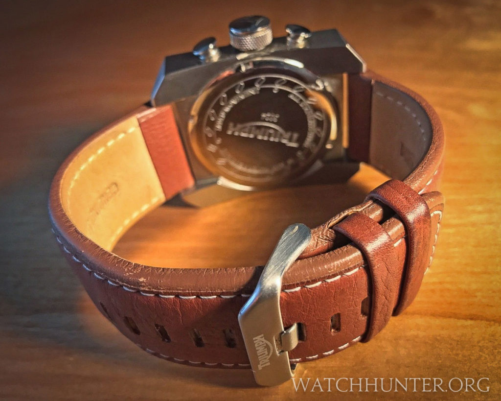 The British tan leather watch band has contrast stitching and a signed buckle. Photo: Scott Dorman