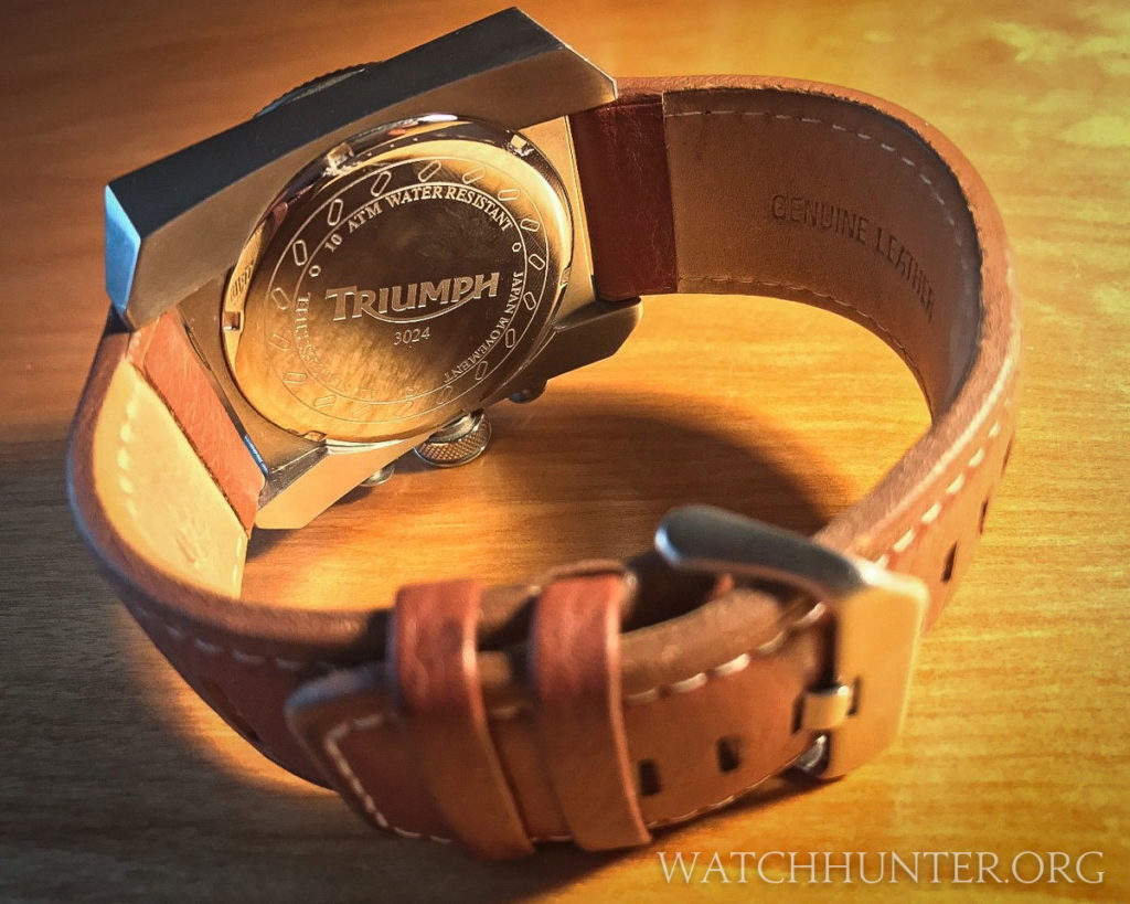 The case back is branded with the Triumph logo. Photo: Scott Dorman