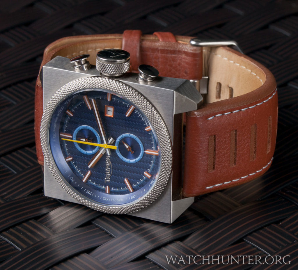 The Triumph Scrambler Chronograph is a study of contrasts