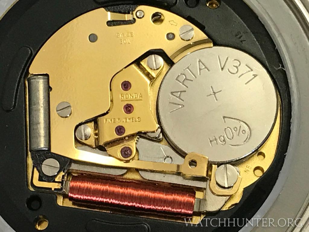A 5-jewel quartz movement by Ronda powers the Victorinox Swiss Army Whisper. Photo: Kraig Radesi