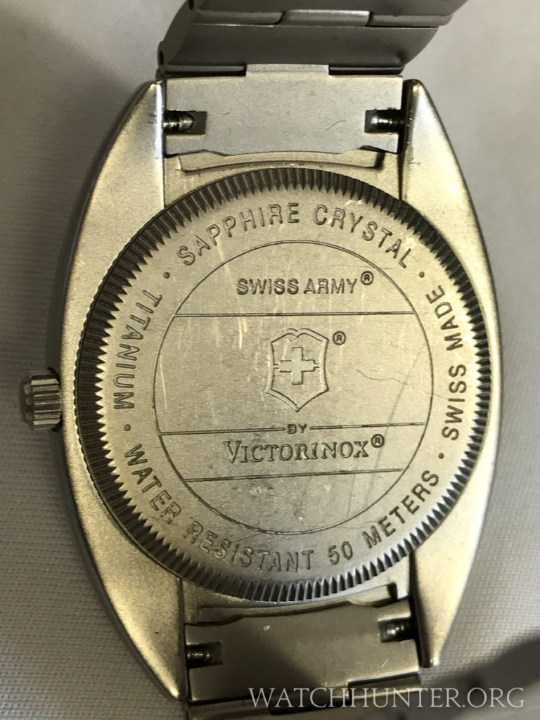 Case back of the Titanium Whisper by Swiss Army. Photo: Kraig Radesi