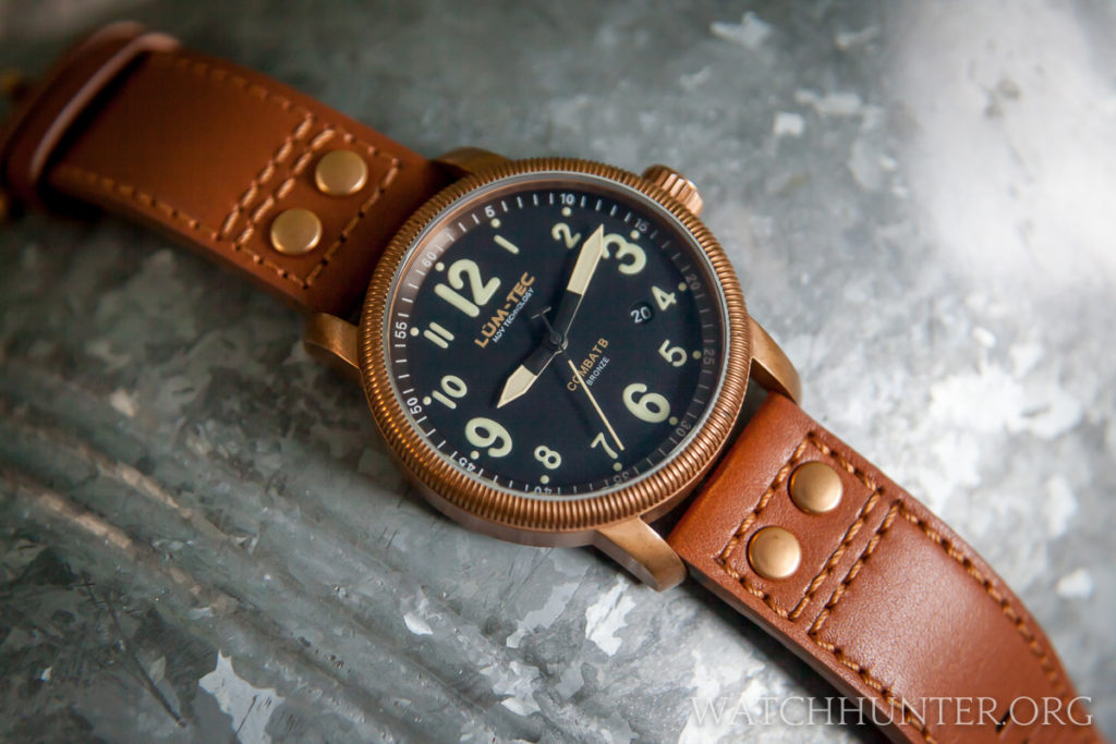 Lum-Tec Combat B18 with a bronze case. The quick change watch band has bronzed hardware