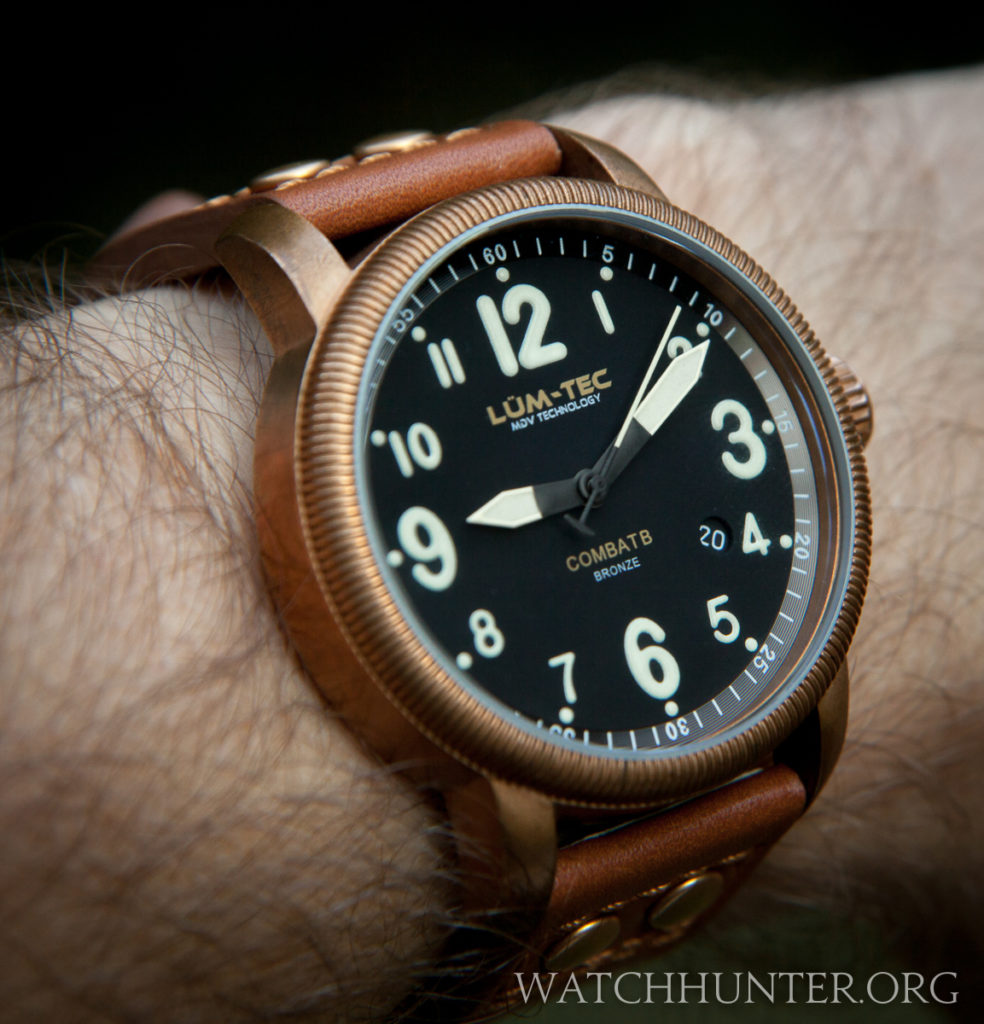 "Lum-Tec B18 Bronze on my hairy wrist is a ""just right"" size"