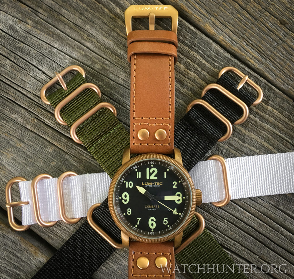 All of the watch bands included with the Lum-Tech Combat B18 bronze have matching hardware.