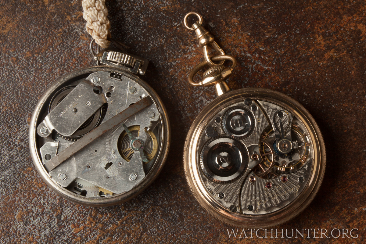 A poor quality 1960s pocket watch versus a railroad quality pocket watch. No contest.
