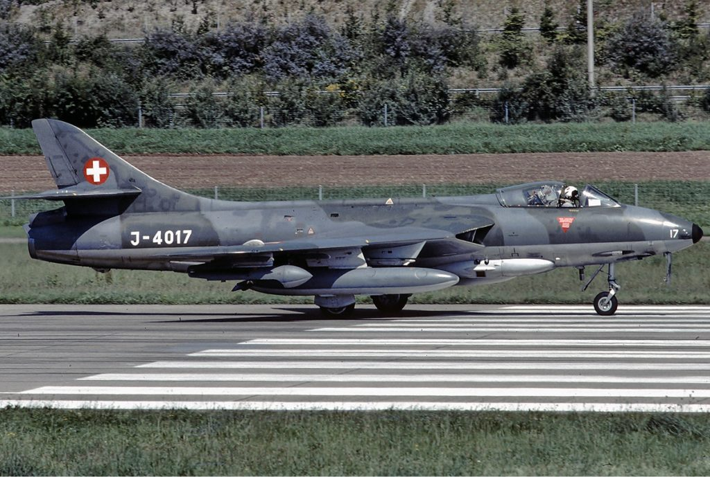 Swiss Air Force Hawker Hunter Attack Fighter. Photo: Wikipedia