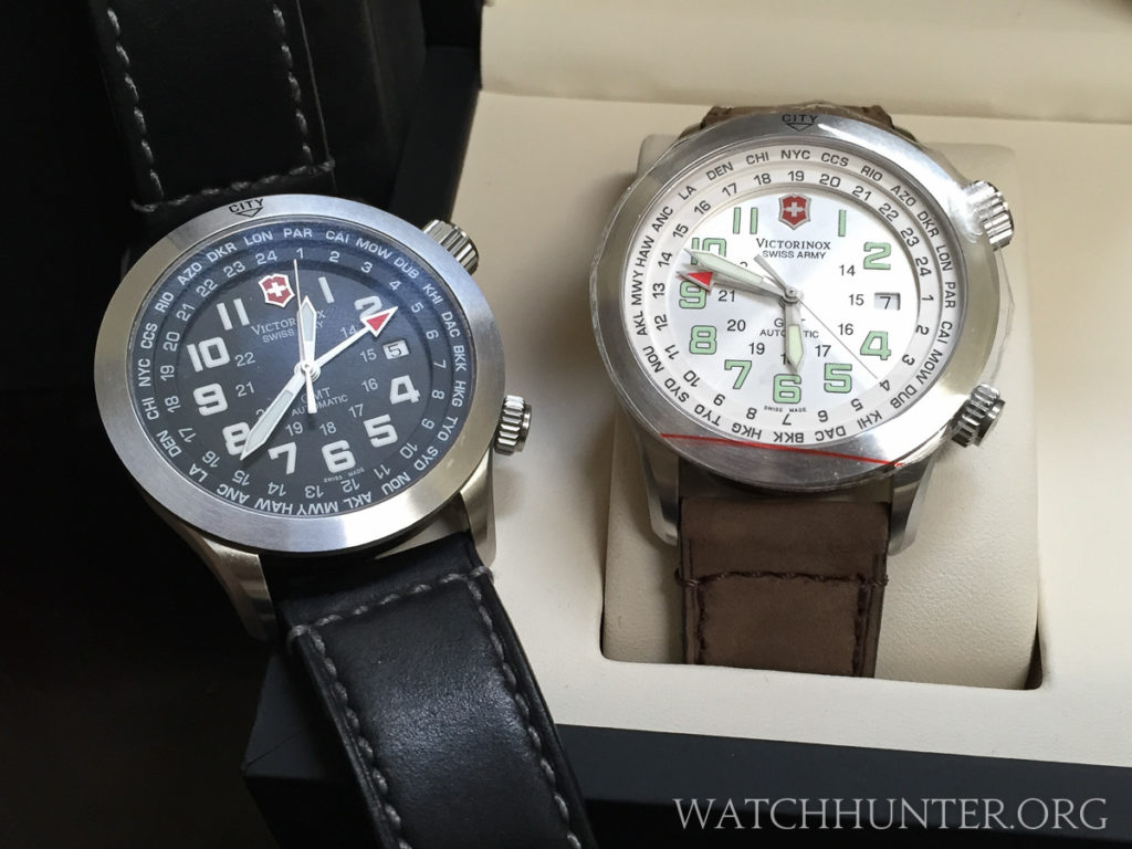 The 2 versions of the Swiss Airforce Airboss Mach V GMT. Photo: Scott Dorman