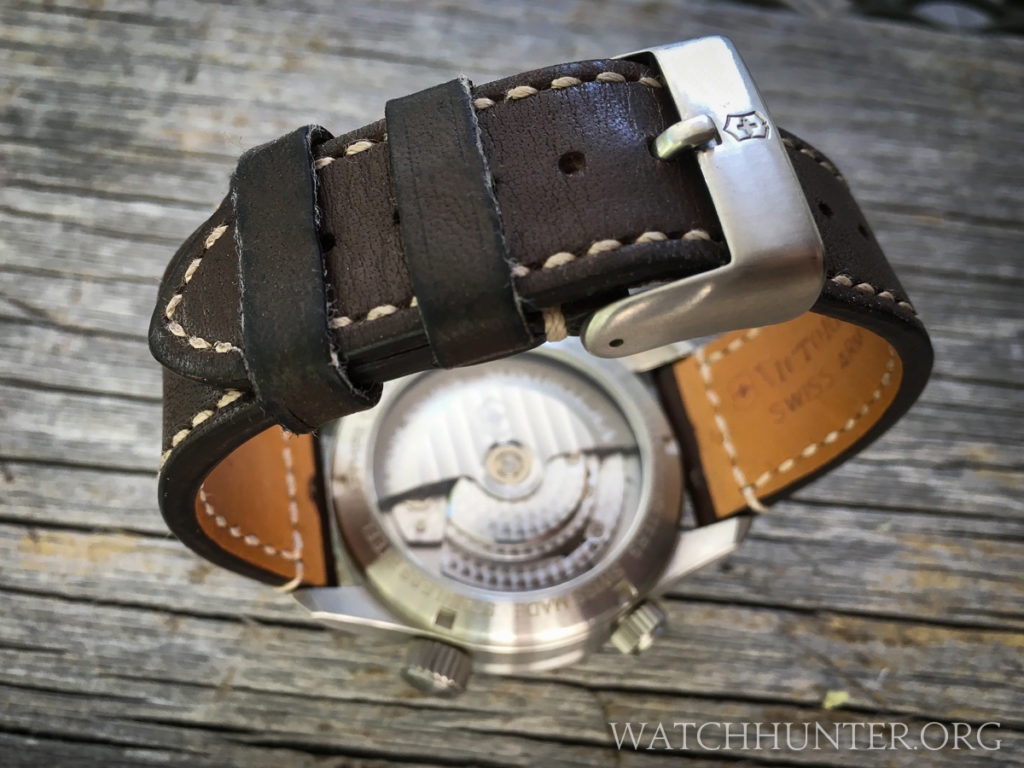 The watch band has a thumbnail buckle instead of a deployant clasp