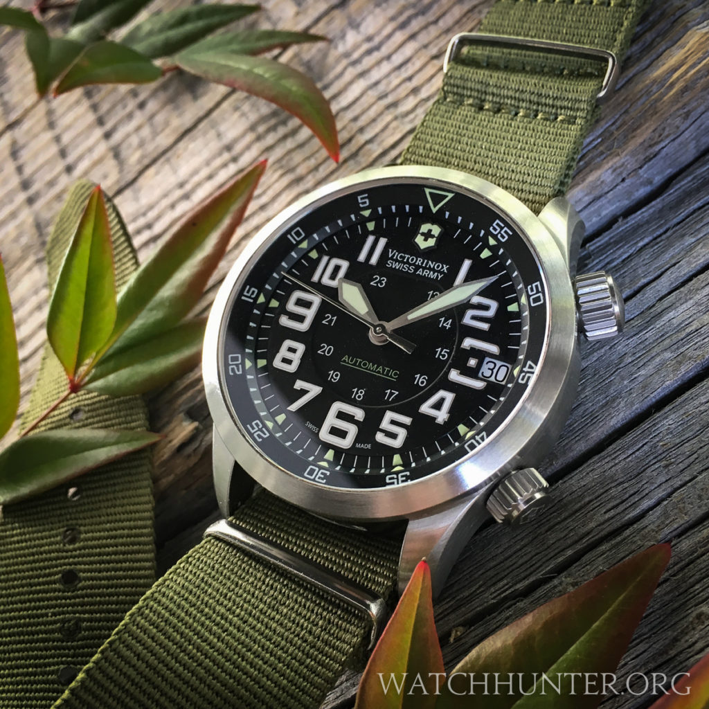 Victorinox Swiss Army Airboss Mach 7 on an olive drab NATO strap