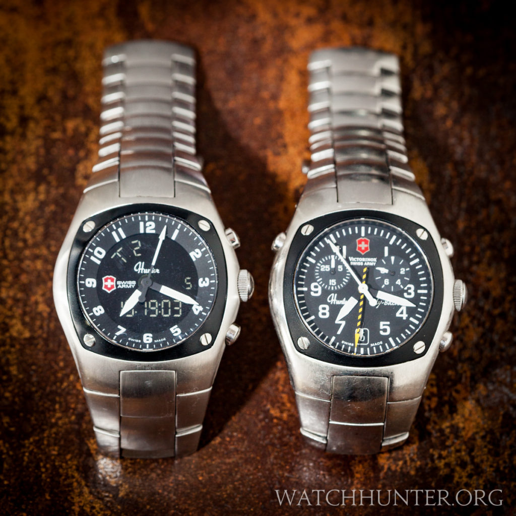 The barrel shape of the case is unmistakable as demonstrated here on the Swiss Army Hunter Mach 3 and Mach 2.