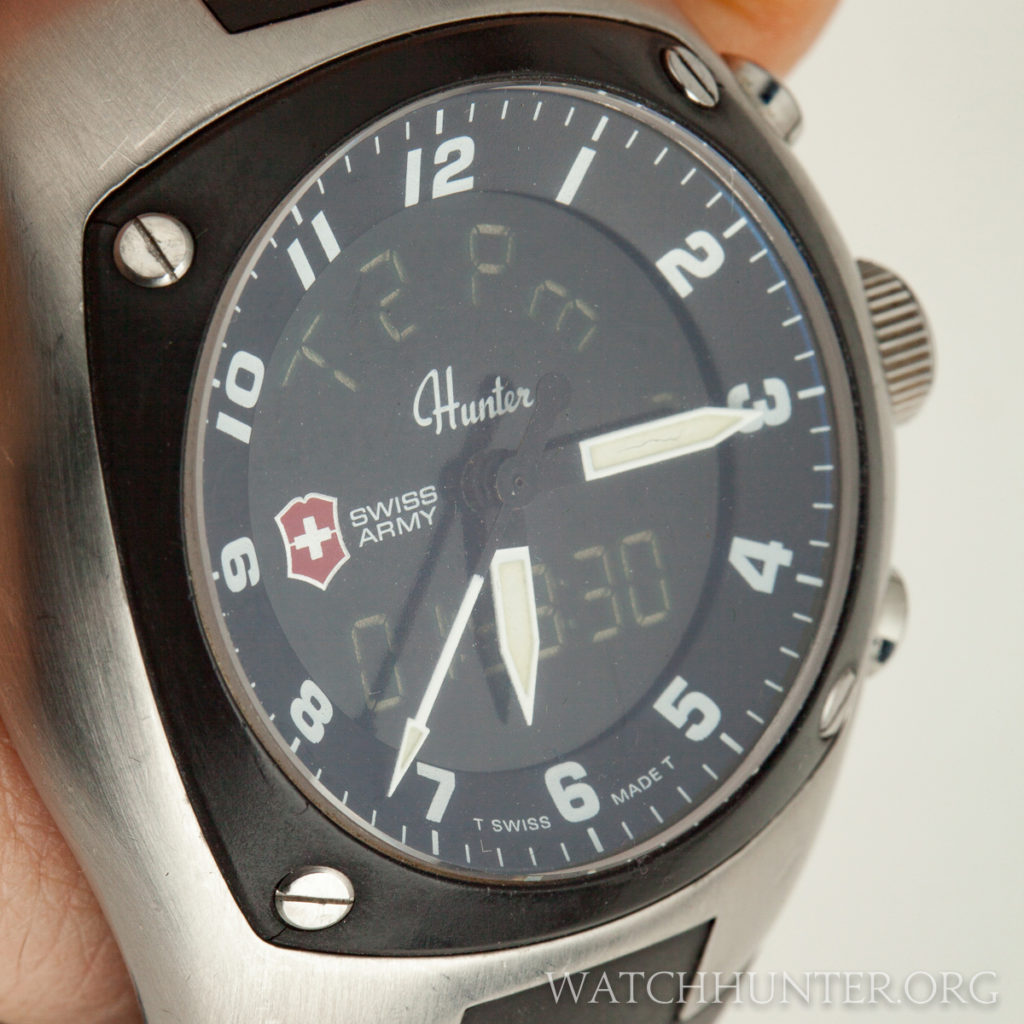 Extra information is digitally displayed behind the analog hands of the Swiss Army Hunter Mach 3.