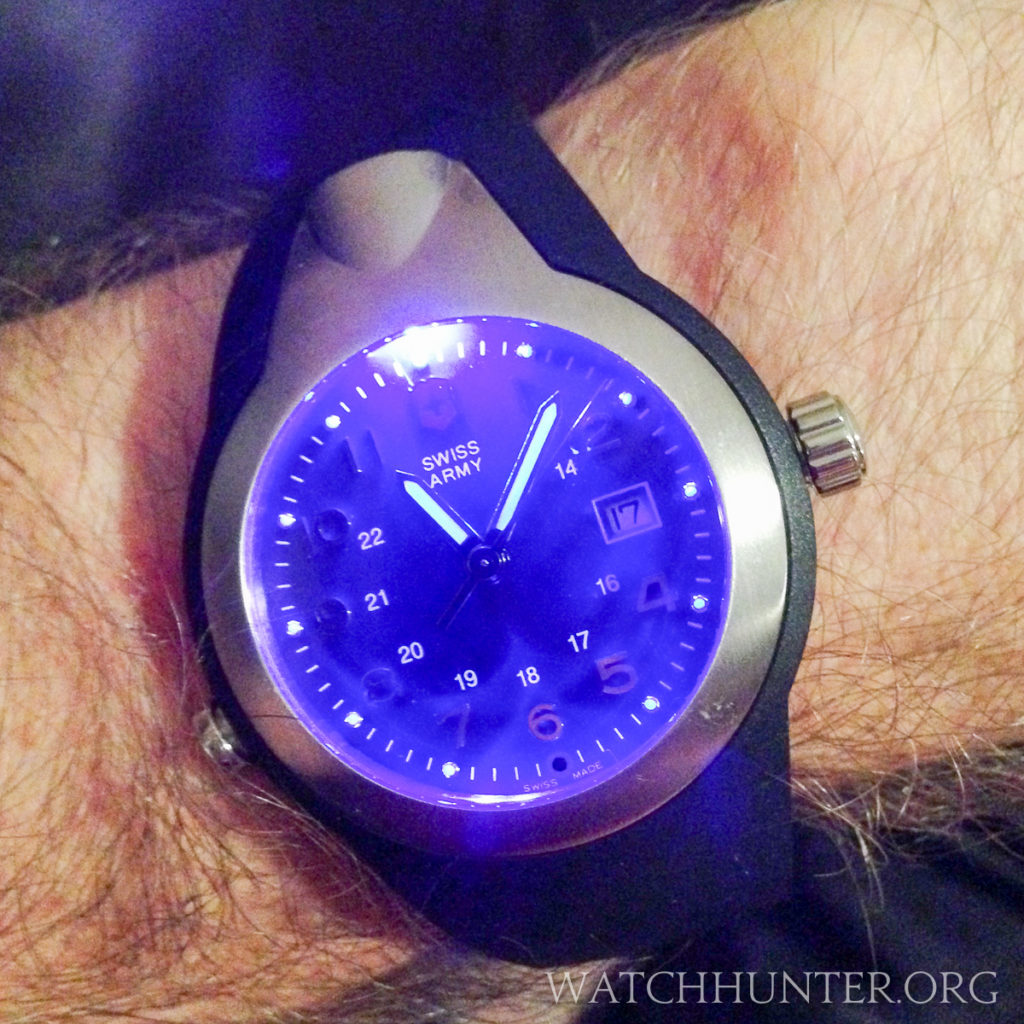 A UV light illuminates the dial and charges the lume on the hands and hour markers on the first generation Night Vision watch