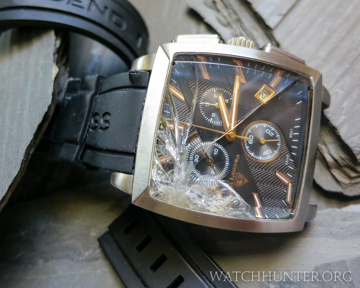 This dressy Swiss Legend took a fall and did not survive. Such is the potential fate of a beater watch