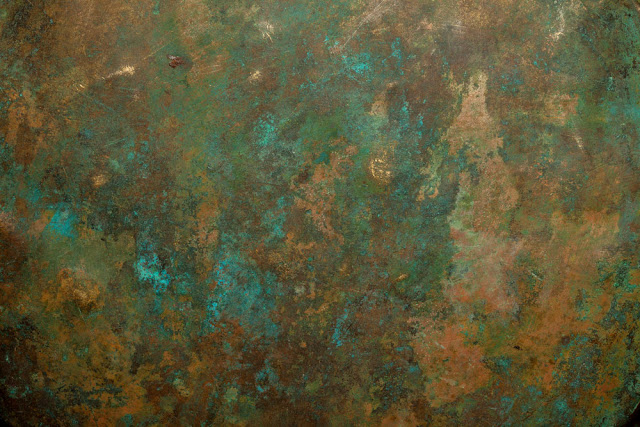 Bronze patinas can take on different colors. An exaggerated palette is shown above.