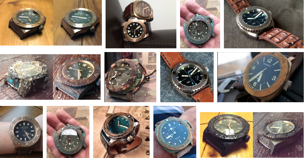 Many chemicals can change the patina on bronze (and brass) watches. Image: Google search
