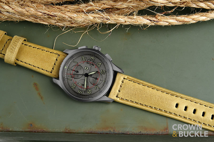 Digital mock-up of Victorinox Swiss Army Titanium Airboss on Sheffield strap by Crown & Buckle. Photo: Crown & Buckle