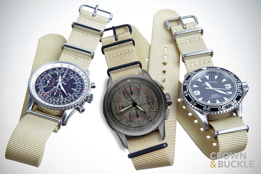 Digital mock-up of Victorinox Swiss Army Titanium Airboss on Premium NATO strap by Crown & Buckle. Photo: Crown & Buckle