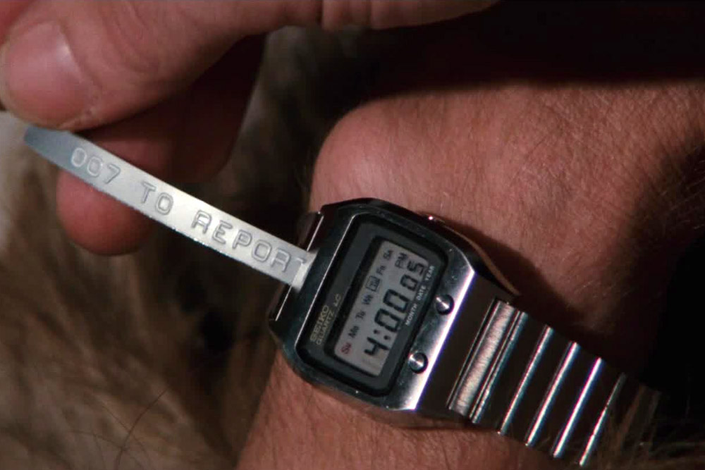 This spy gadget from Moonraker Seiko watch had a built-in labeler. Nifty!